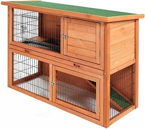 "SmithBuilt 48"" Rabbit Hutch - Two Story Wood Bunny Cage"